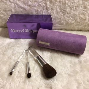🎀2/70 Clinique 3pc Travel Brush Set w Makeup Case
